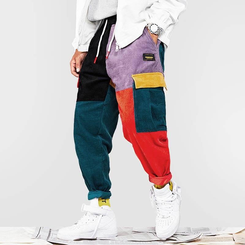 Men's Patchwork Harem Pants BOTTOMS Casual Pants / Trousers Men's Clothing & Accessories Pants Pants / Trousers