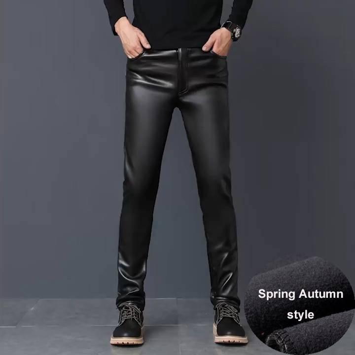 Men's Faux Leather Warm Pants BOTTOMS Casual Pants / Trousers Men's Clothing & Accessories Pants Pants / Trousers