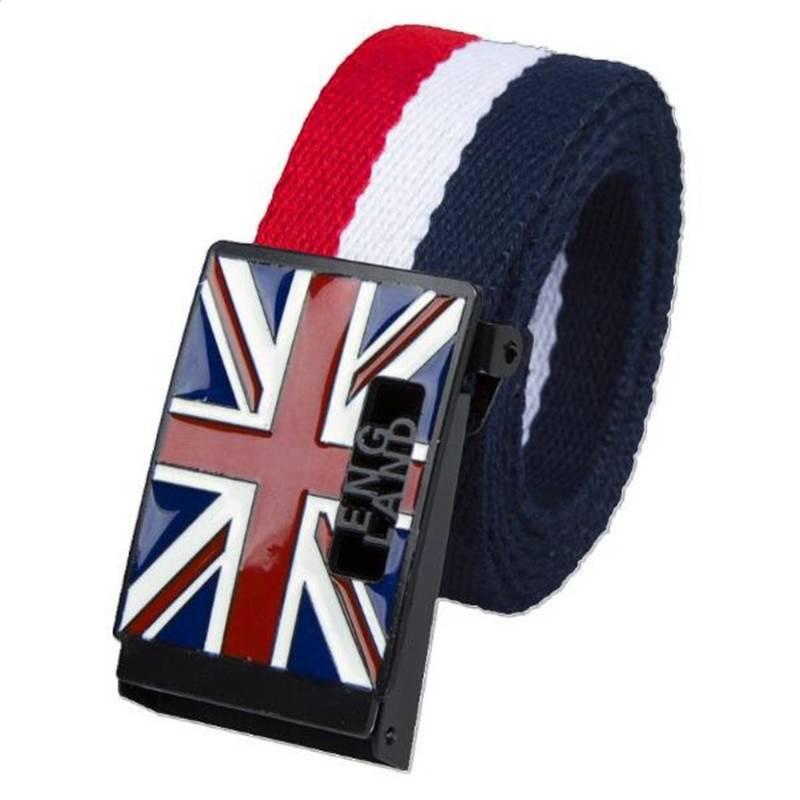 Men's Casual UK Flag Printed Canvas Belt Accessories Belts Men's Clothing & Accessories