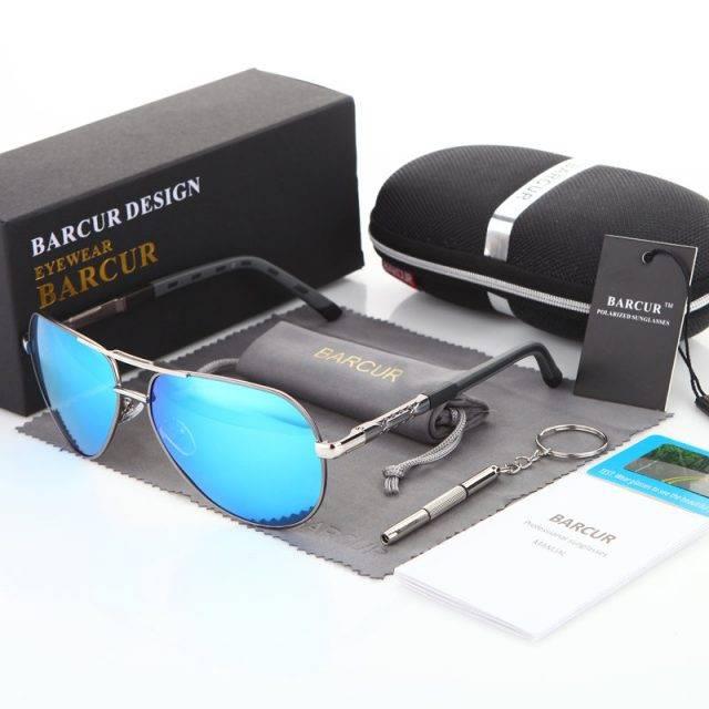 Stylish Sunglasses With Aluminium Frame Men's Sunglasses Sunglasses & Glasses Lenses Color : Blue Silver Black Golden Black Silver Orange Gold Tea Gun Black