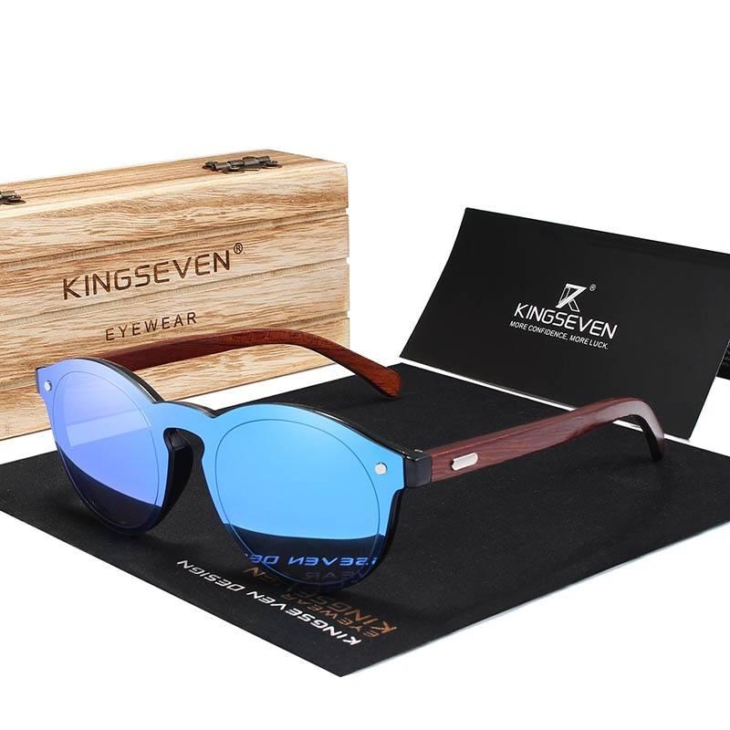 Men's Wooden Frame Round Shaped Sunglasses Men's Sunglasses Sunglasses & Glasses