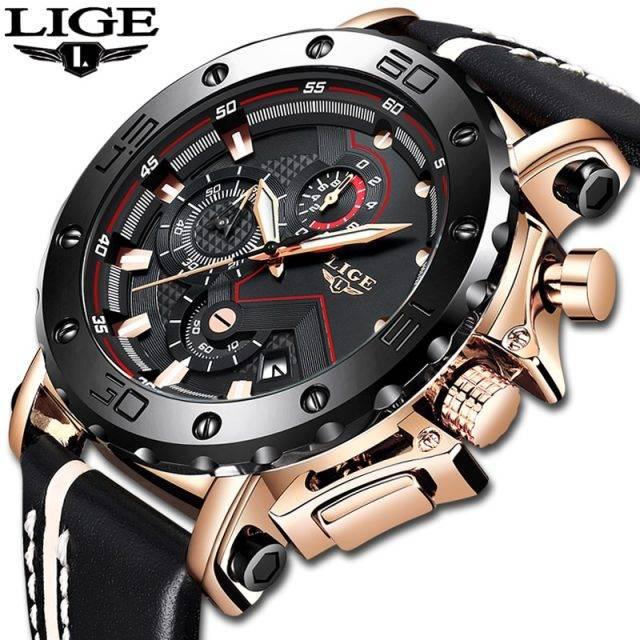 LIGE Waterproof Sport Chronograph for Men Men's Watches Random Color : Rose gold black Silver black