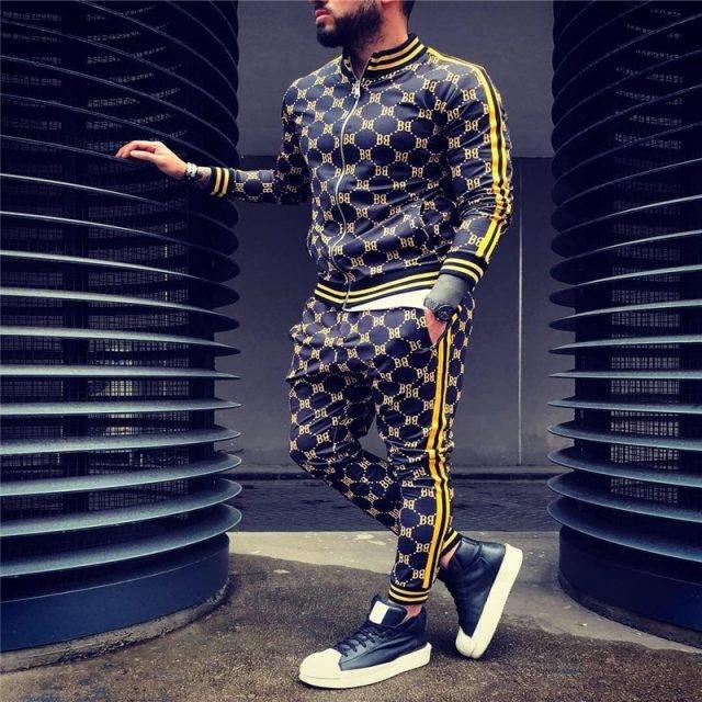 Plaid Men Casual Tracksuit Suits & Blazers Tracksuits