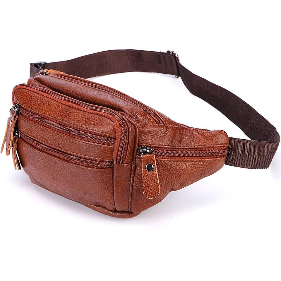 Fashion Men's Leather Waist Bag Bags & Wallets Waist Bags