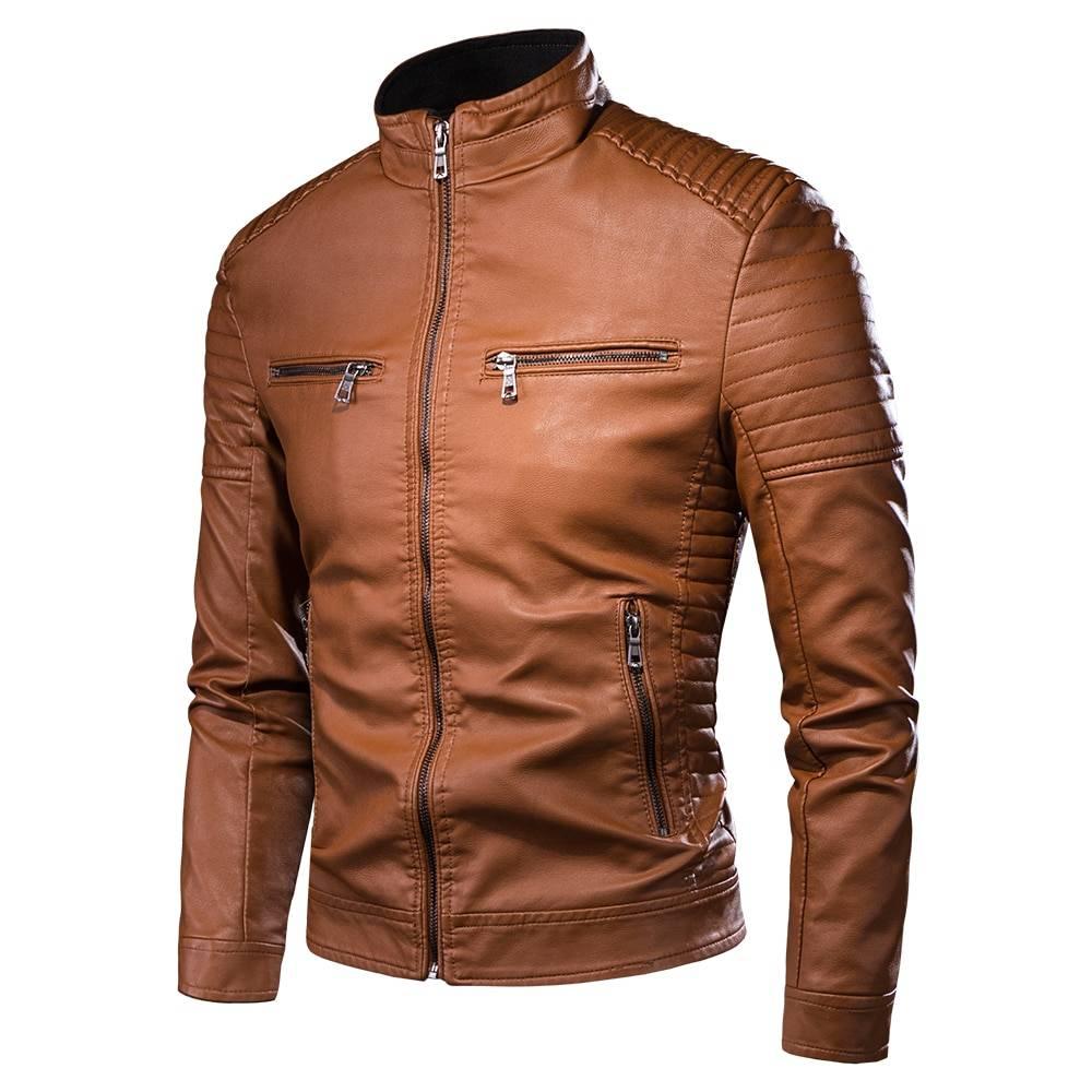 Mens Autumn Faux Leather Jacket Jackets Color: Brown Size: S M L XL XXL XXXL 4XL