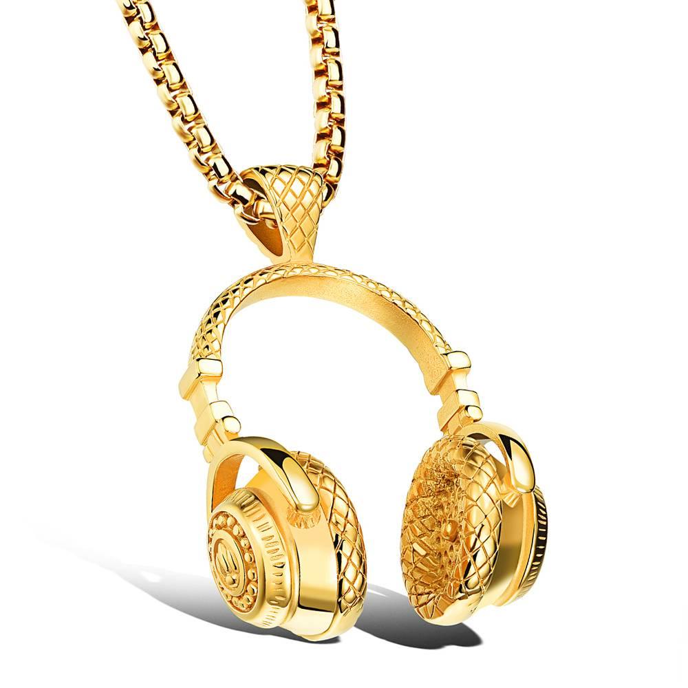 Men's Headphones Pendant Necklace Men Jewelry Necklaces