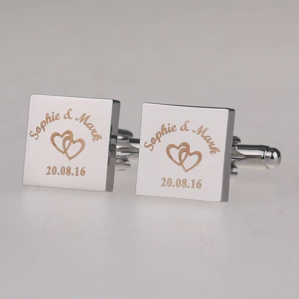 Personalized Engraved Square Wedding Cufflinks Men Jewelry Tie Clips & Cufflinks