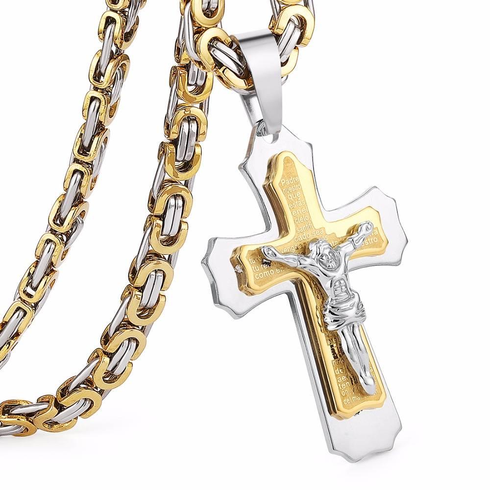 Trendy Cross Shape Men's Titanium Pendant Necklace Men Jewelry Necklaces