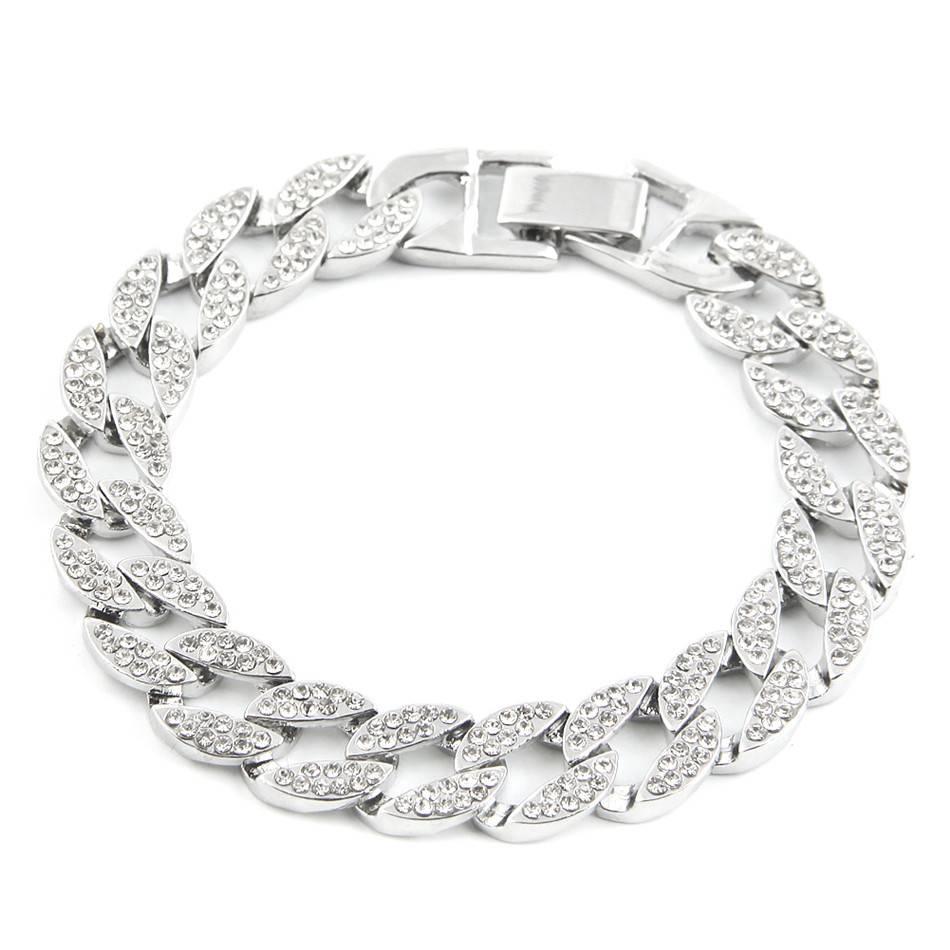 Men's Iced Out Link Chain Rhinestones Bracelets Bracelets Men Jewelry
