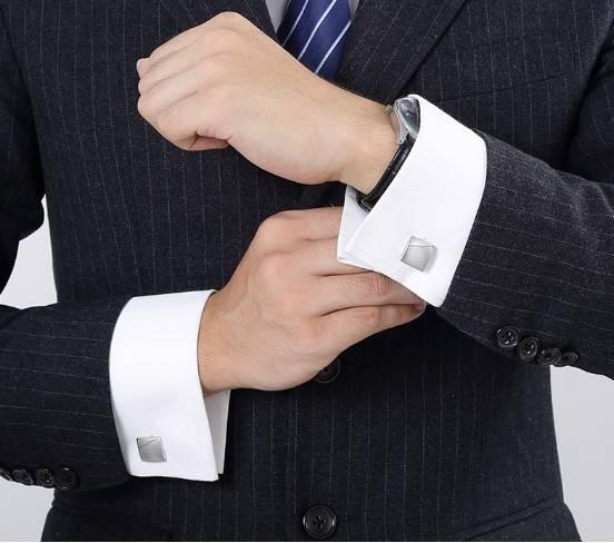 Personalized Engraved Silver Wedding Cufflinks Men Jewelry Tie Clips & Cufflinks