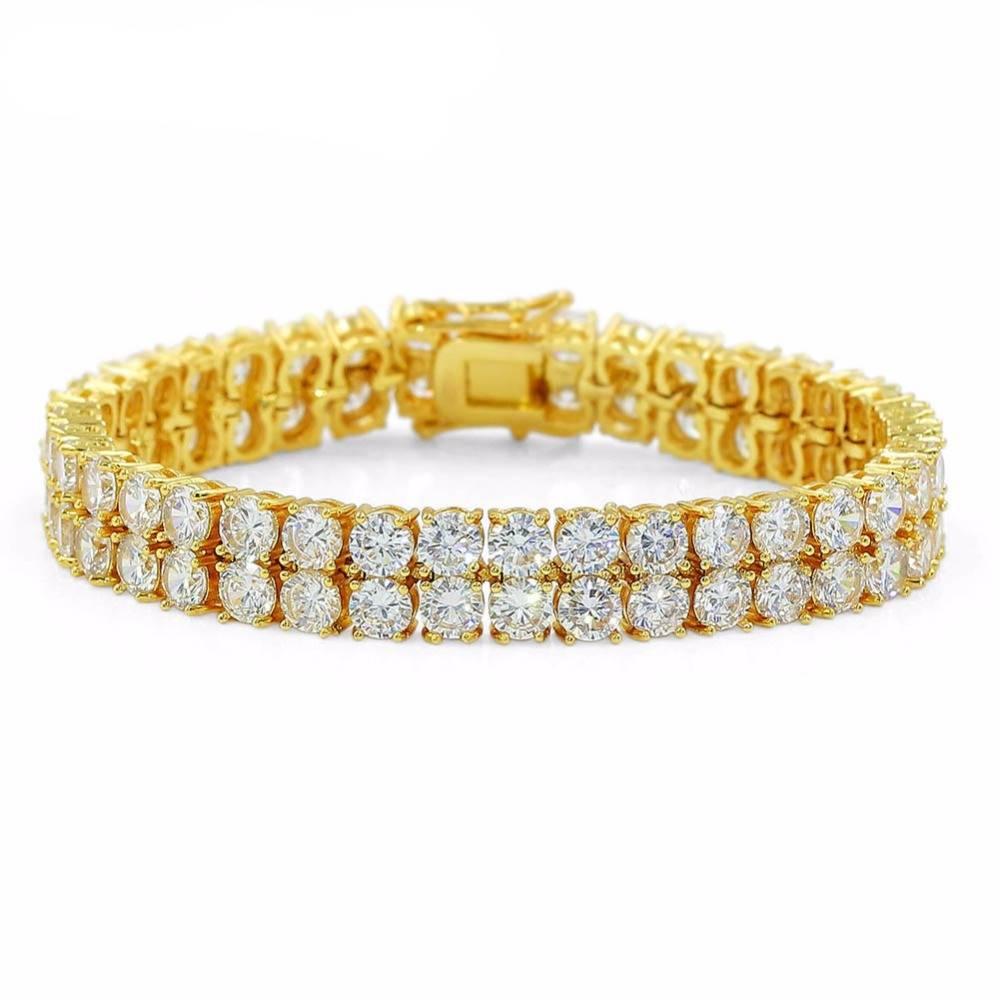 Men's Iced Out Two Rows Cubic Zirconia Bracelets Bracelets Men Jewelry