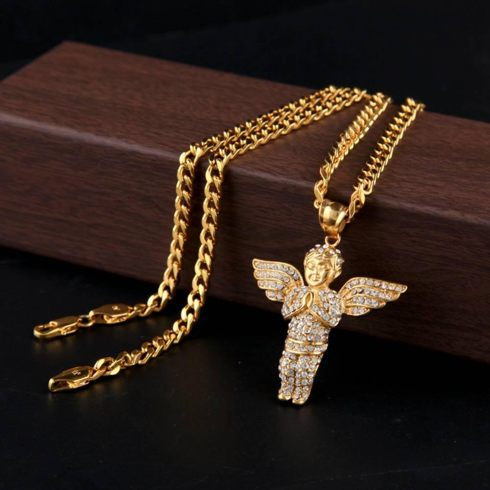 Men's Hip Hop Angel Shaped Pendant Necklaces Men Jewelry Necklaces