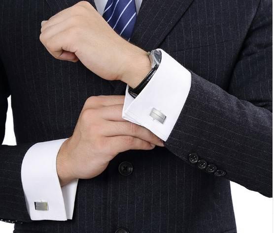 Personalized Rectangular Silver Cufflinks Men Jewelry Tie Clips & Cufflinks