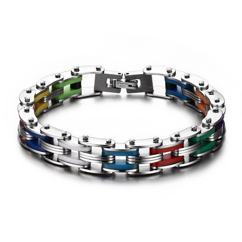 Men's Colorful Stainless Steel Chain Bracelet Bracelets Men Jewelry