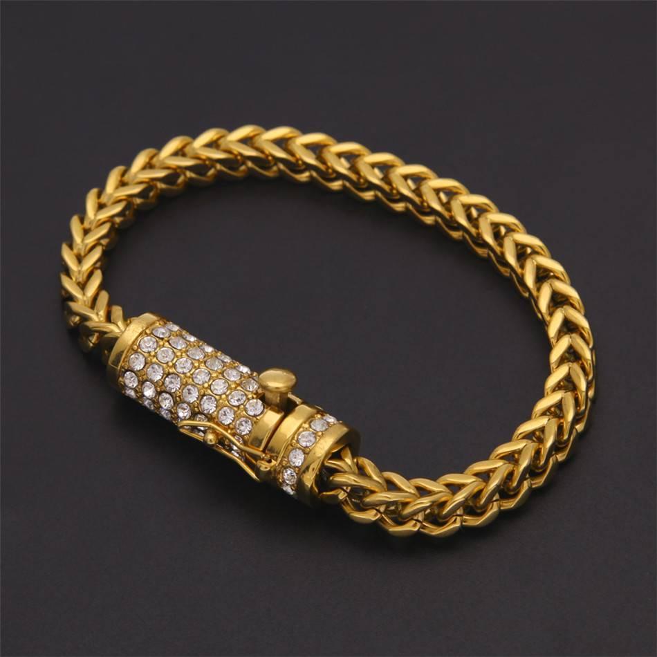 Men's Iced Out Link Chain Rhinestone Bracelets Bracelets Men Jewelry