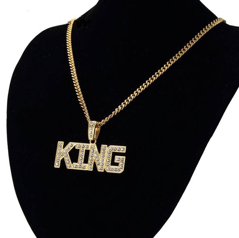 Men's Hip Hop King Letters Shaped Full Rhinestone Pendant Necklaces Men Jewelry Necklaces