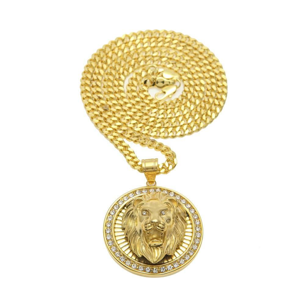 Men's Hip Hop Iced Out Lion Head Pendant Necklaces Men Jewelry Necklaces