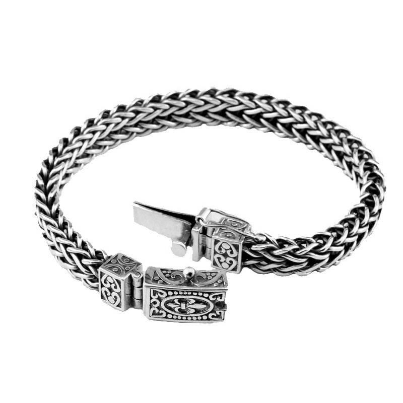Vintage Style Sterling Silver Unisex Bracelet Bracelets Men Jewelry