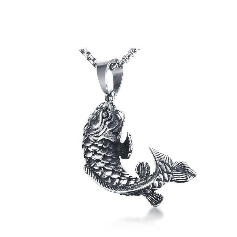 Classic Titanium Necklace with Fish Pendant Men Jewelry Necklaces