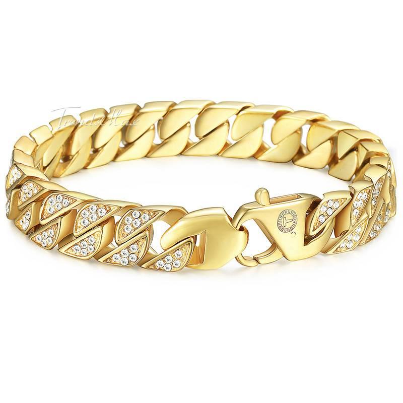Men's Iced Out Stainless Steel Bracelets Bracelets Men Jewelry