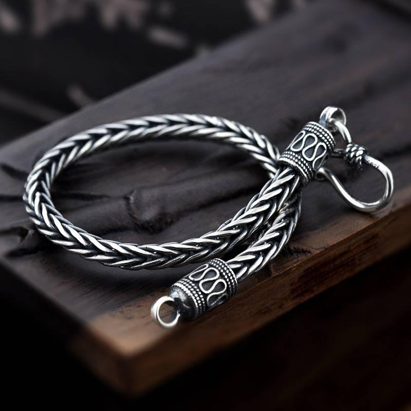 Men's Vintage 925 Sterling Silver Bracelet Bracelets Men Jewelry