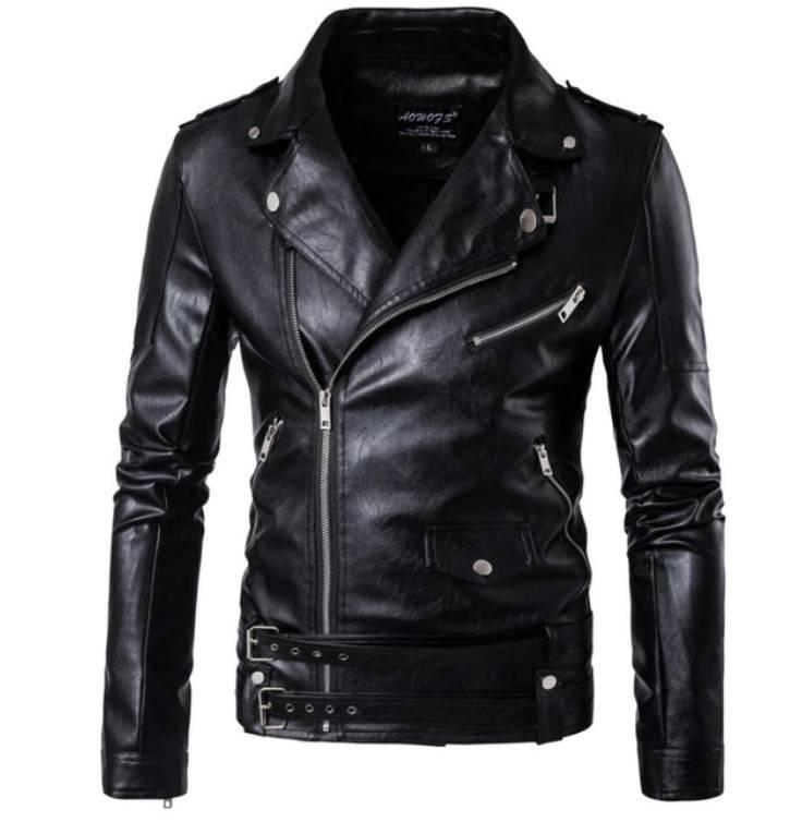 Men's Belted Style Biker Jacket Jackets Jackets & Coats Men's Clothing & Accessories