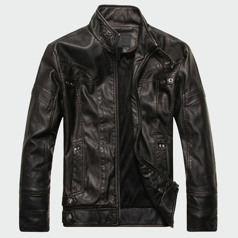 Men's Mandarin Collar Faux Leather Jacket Jackets Jackets & Coats Men's Clothing & Accessories