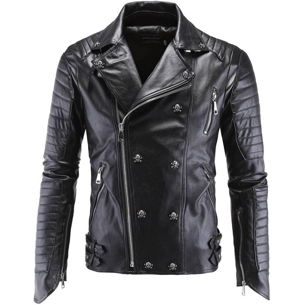 Men's Skull Rivet Quilted Biker Jacket Jackets Jackets & Coats Men's Clothing & Accessories