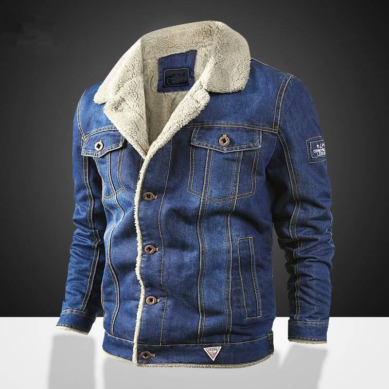 Men's Winter Denim Jacket withl Fur Collar Jackets Jackets & Coats Men's Clothing & Accessories