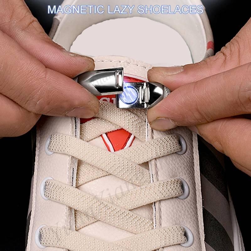 1 Pair Elastic Magnetic Locking Shoe Laces for Sneakers Random