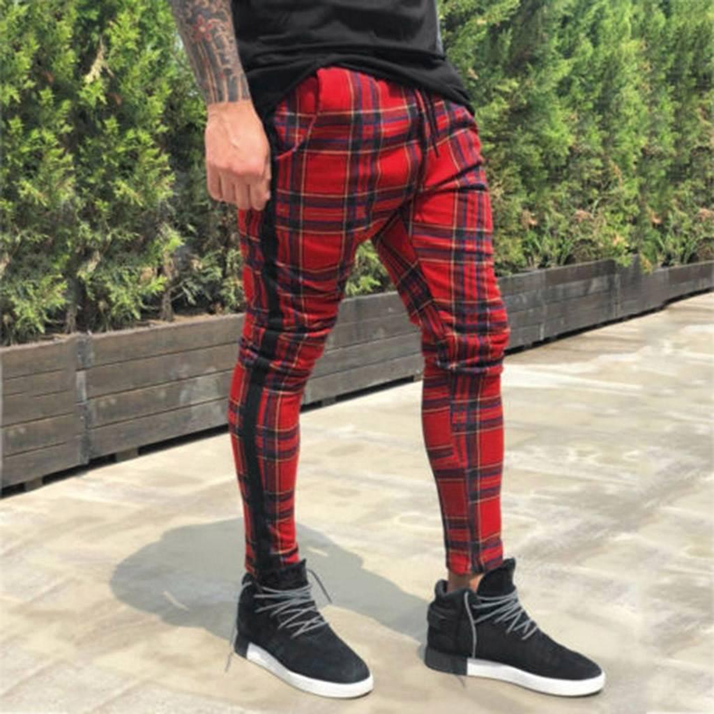 Men's Casual Slim Fit Plaid Trousers Casual Pants / Trousers