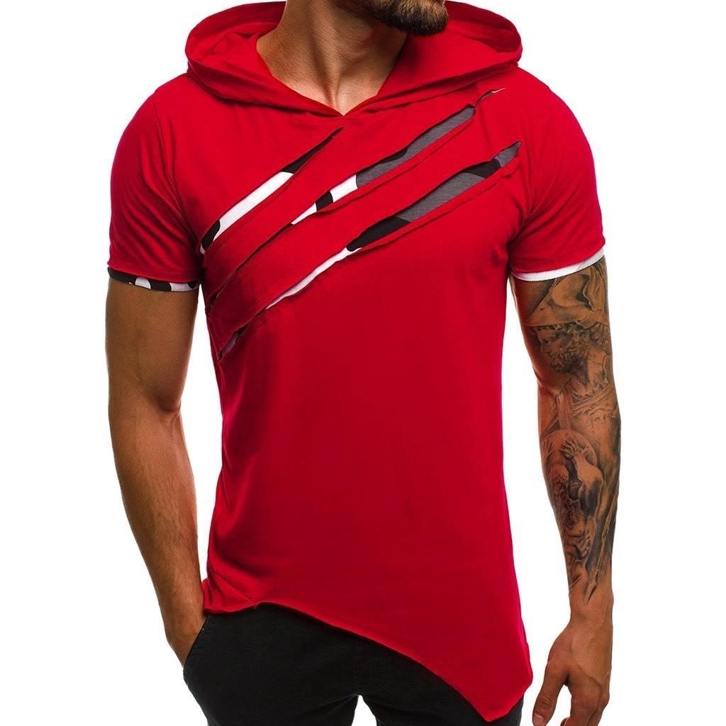 Slim Streetwear Patchwork Short Sleeve Hooded T-Shirt T-Shirts Tops & Tees