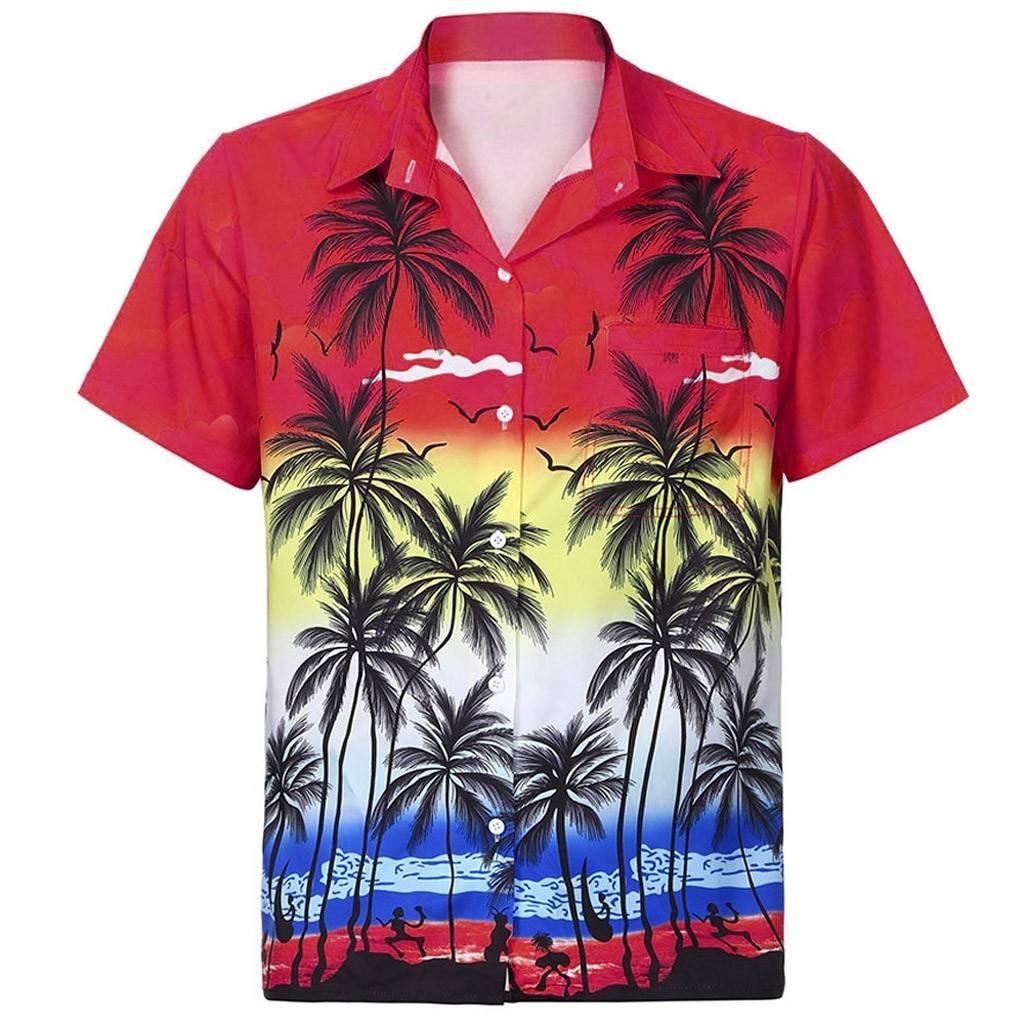 Mens Hawaiian Shirt Short Sleeve Shirt Shirts Color: Red Size: S|M|L|XL|XXL Ships From: China|United States