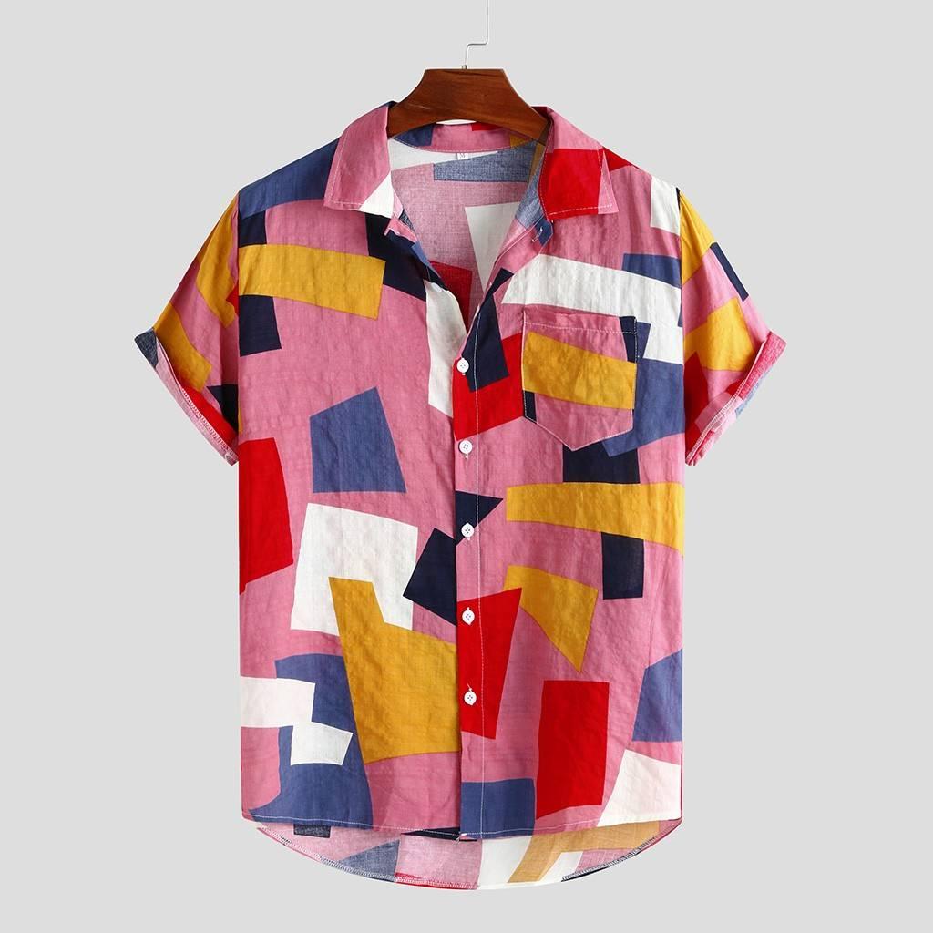Mens Polygon Hawaiian Style Shirt Shirts