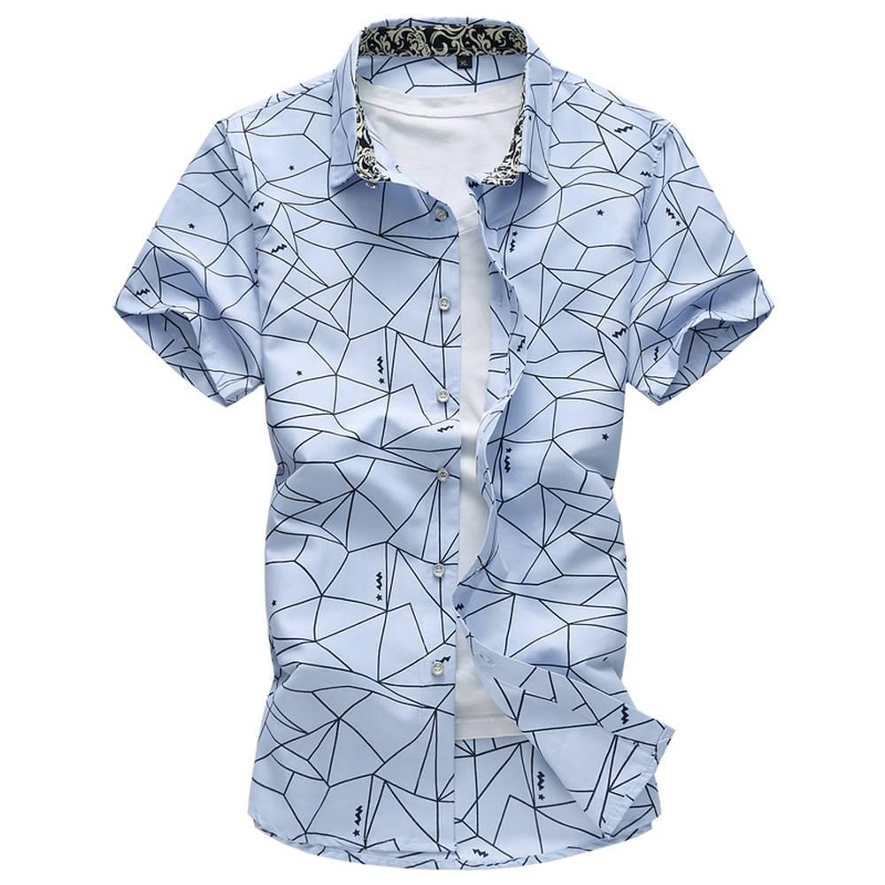 Mens Summer Irregular Pattern Short Sleeve Shirts Shirts
