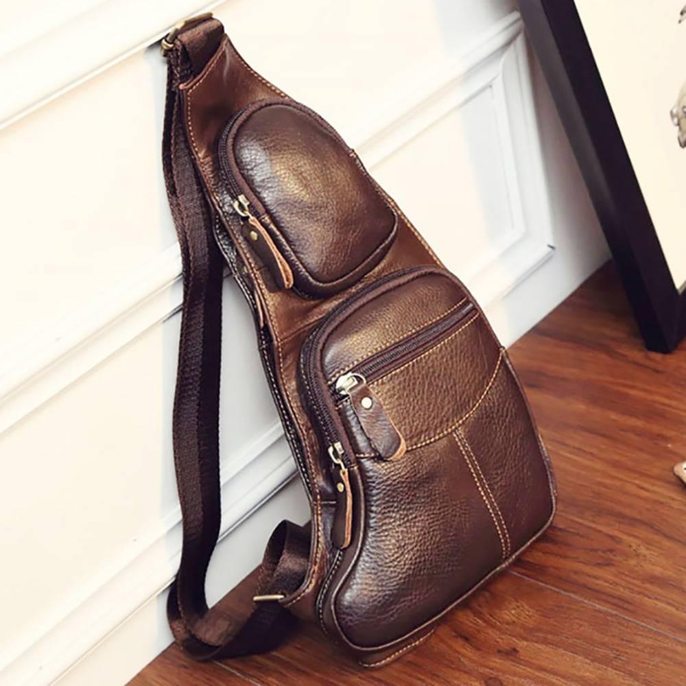 Men's Genuine Leather Chest Crossbody Bag Crossbody Bags Men Bags & Wallets