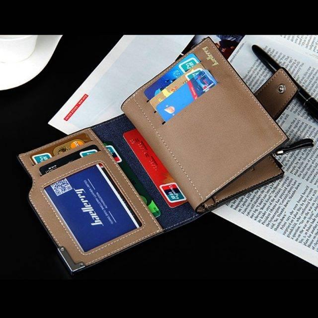 Men's Leather Wallet with Zipper Men Bags & Wallets Wallets Color : Black Brown Deep Blue