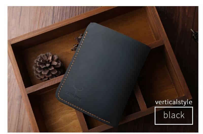Vintage Cross and Vertical Style Men's Genuine Leather Wallet Men Bags & Wallets Wallets