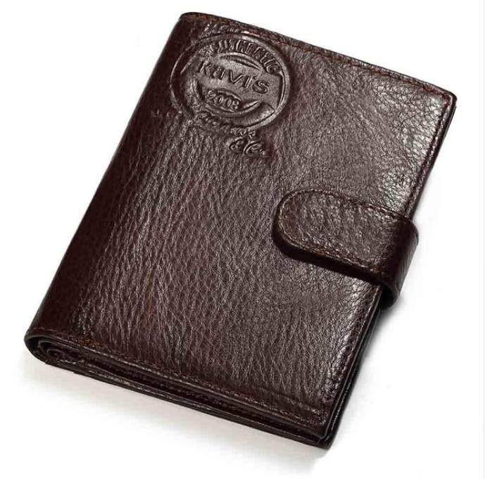 Vertical Leather Wallet with Passport Holder for Men Men Bags & Wallets Wallets Color: Brown