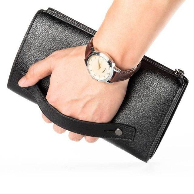 Spacious Leather Wristlet for Men Men Bags & Wallets Wallets Color : Black|Brown