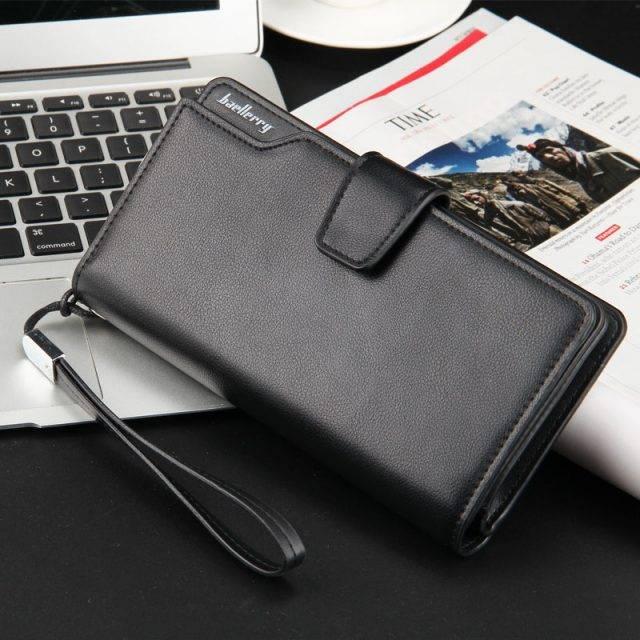 Men's PU Leather Long Wallet Men Bags & Wallets Wallets Color : Black| Gold|Silver Gray|Black 2 |Brown |Brown 2