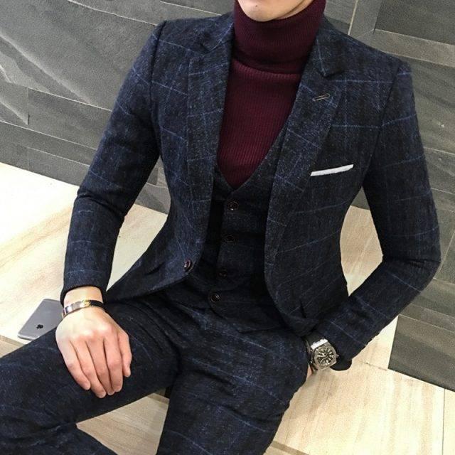 2 Pcs British Style Suit for Men Men's Clothing & Accessories Suits Suits & Blazers Color : Black|Deep Blue|Yellow