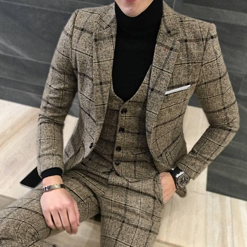 2 Pcs British Style Suit for Men Men's Clothing & Accessories Suits Suits & Blazers