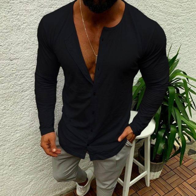 Single Breasted Long Shirt for Men Sweatshirts Color : Black|Khaki|Red|White