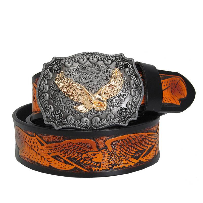 Eagle Engraving Genuine Leather Men's Belt Accessories Belts Men's Clothing & Accessories