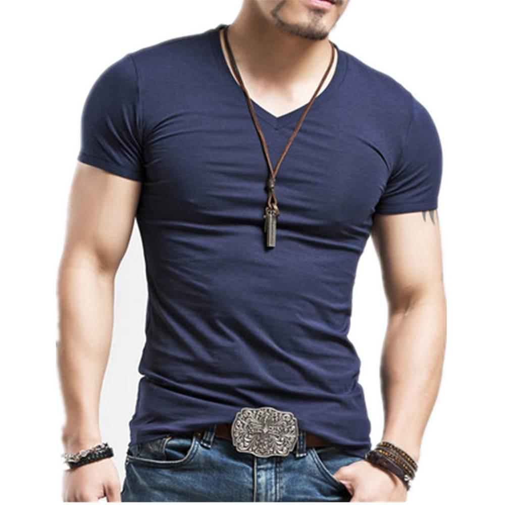 Elastic V-Neck Men's Summer T-Shirt Men's Clothing & Accessories Tops & Tees