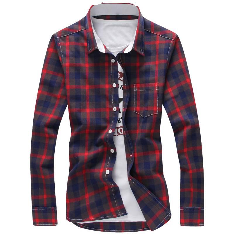 Trendy Casual Plaid Cotton Men's Shirt Men's Clothing & Accessories Shirts