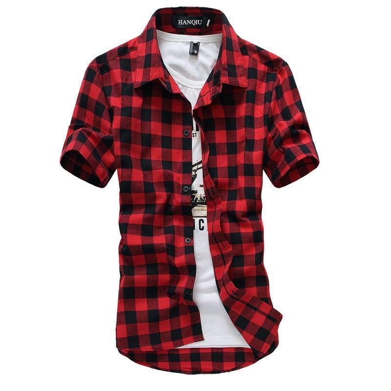 Summer Short-Sleeved Plaid Cotton Men's Shirt Men's Clothing & Accessories Shirts