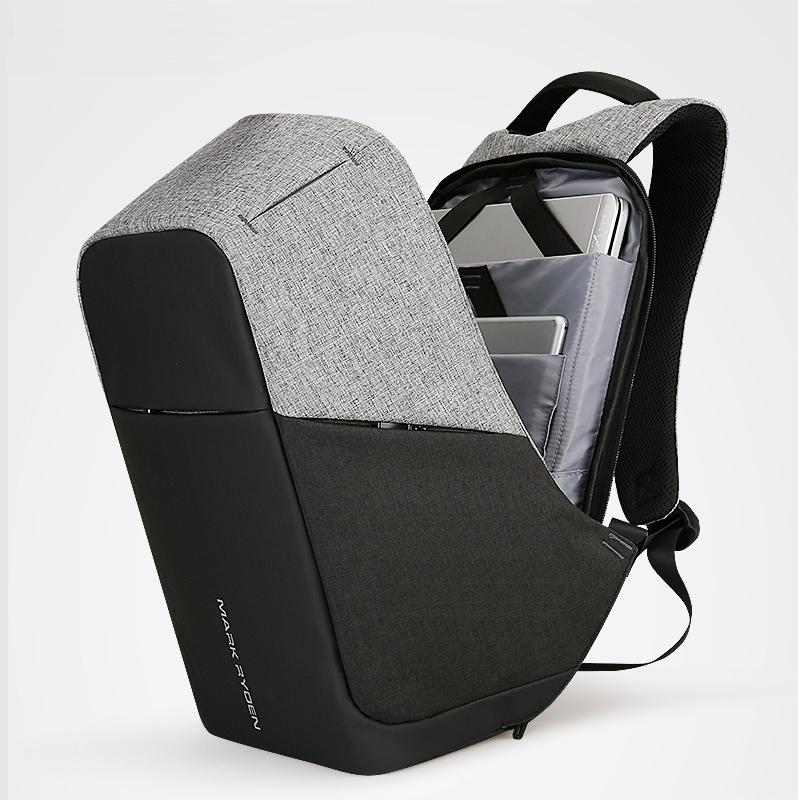 Patchwork Patterned USB Backpack Backpacks Men Bags & Wallets