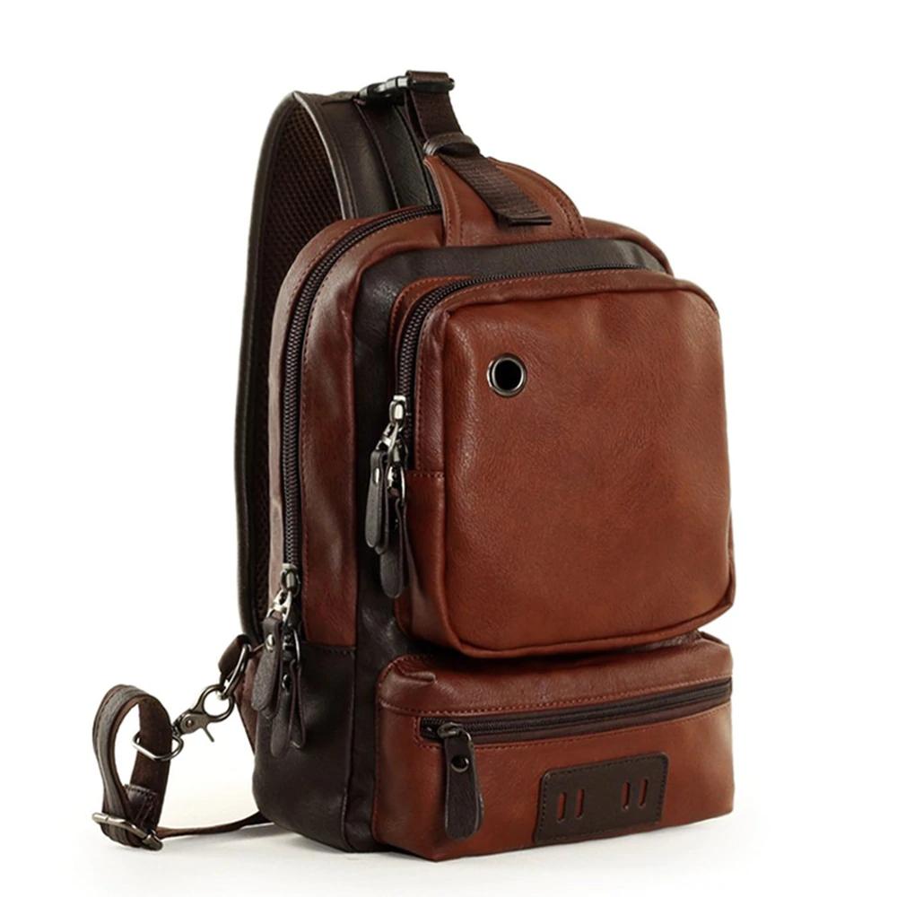 Casual Faux Leather Shoulder Bag for Men Backpacks Men Bags & Wallets